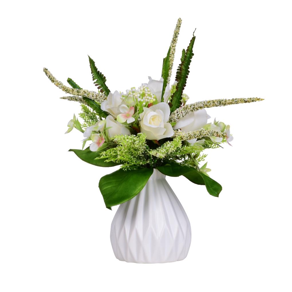 Kytice RŮŽÍ bílá výška 30 cm ateliérová květina