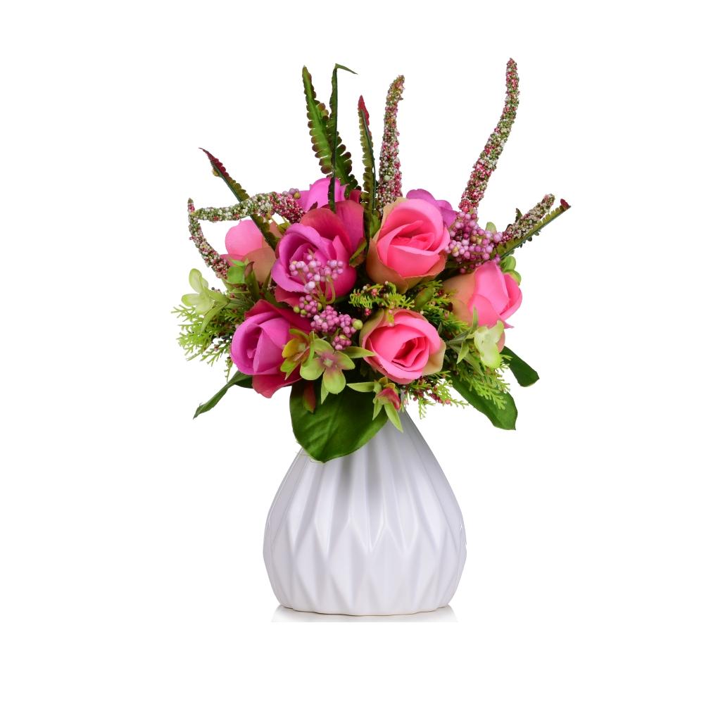 Kytice RŮŽÍ růžová výška 30 cm ateliérová květina
