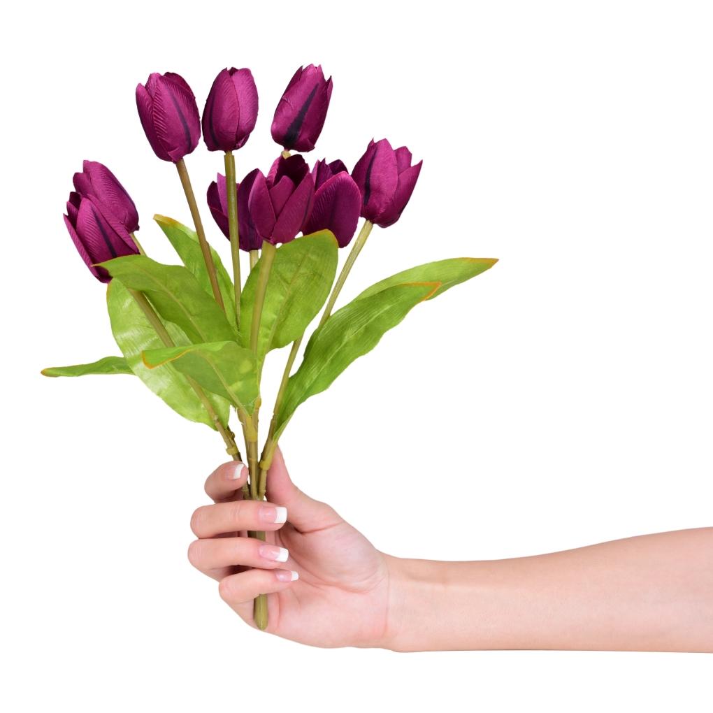 Kytice TULIPÁNŮ tmavě fialové, výška cca 31 cm