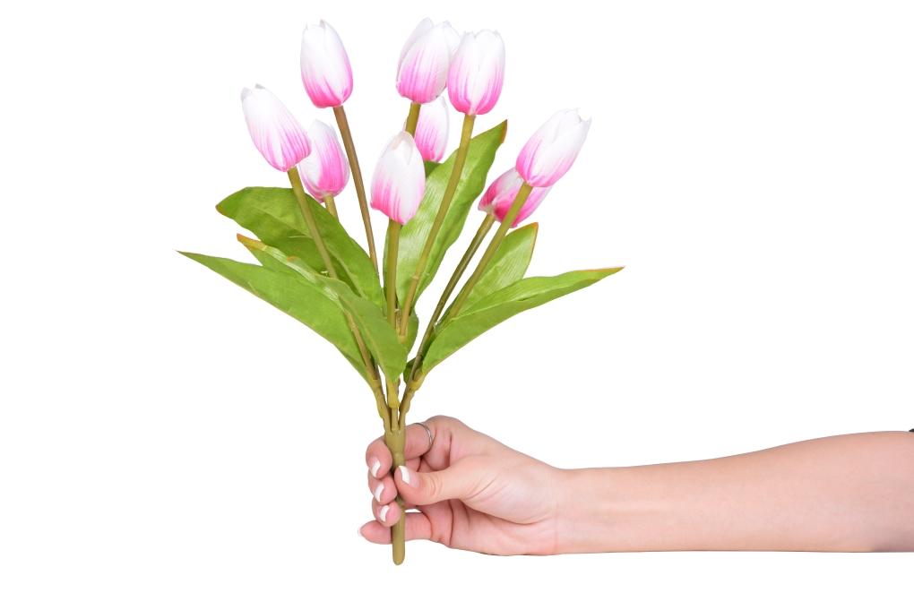 Kytice TULIPÁNŮ růžovo bílé, výška cca 31 cm