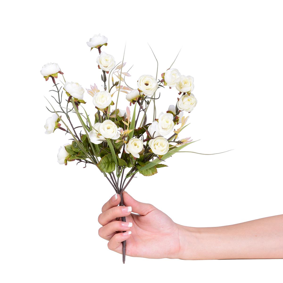 Kytice drobných RŮŽÍ, bílá, výška 35 cm