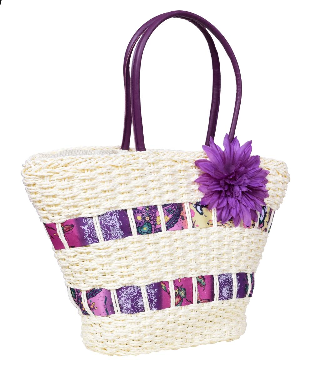 Kabelka DONNA, fialová květina