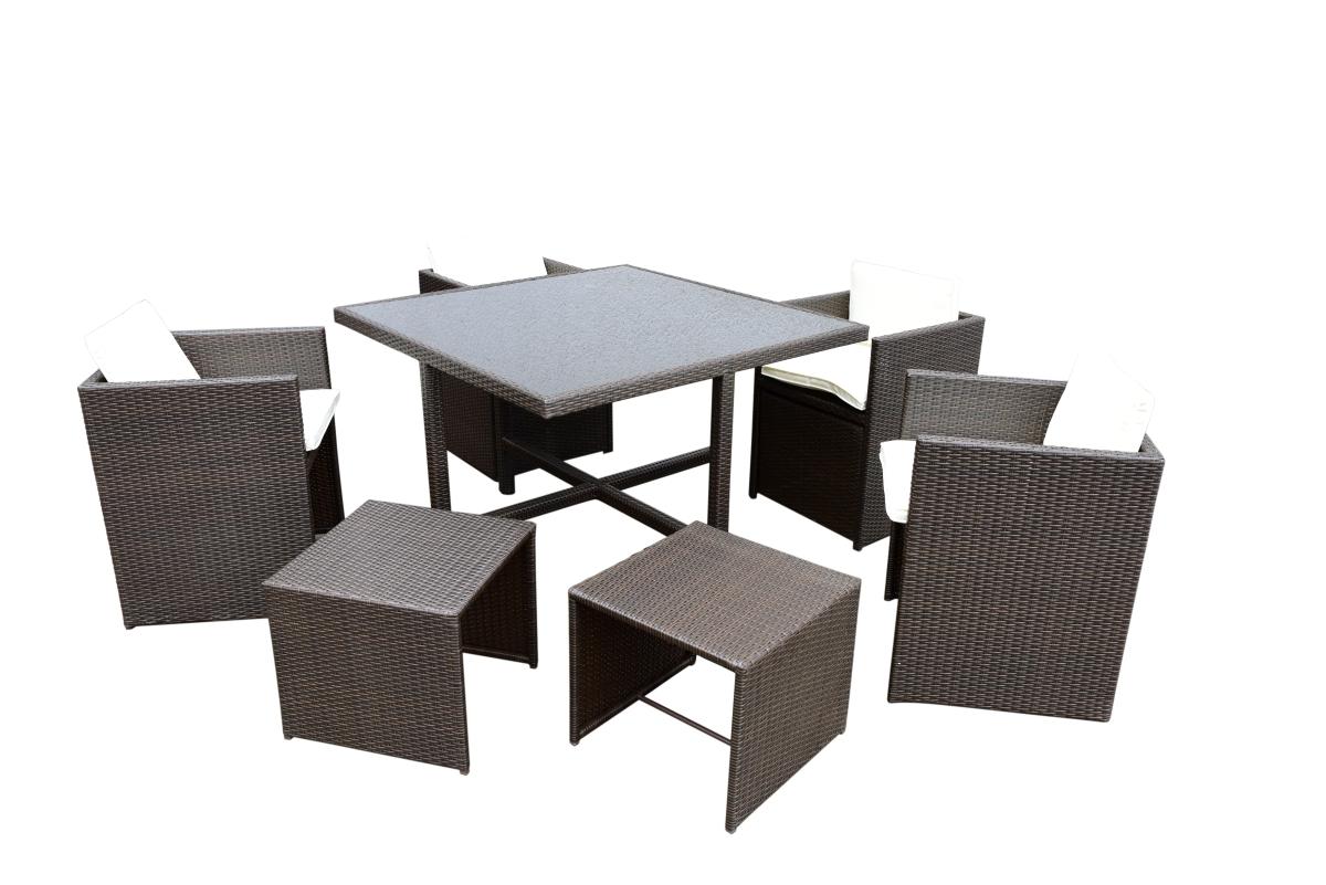 CUBE 9v1  zahradní set nábytku  4 křesla+4 taburety+1 stůl