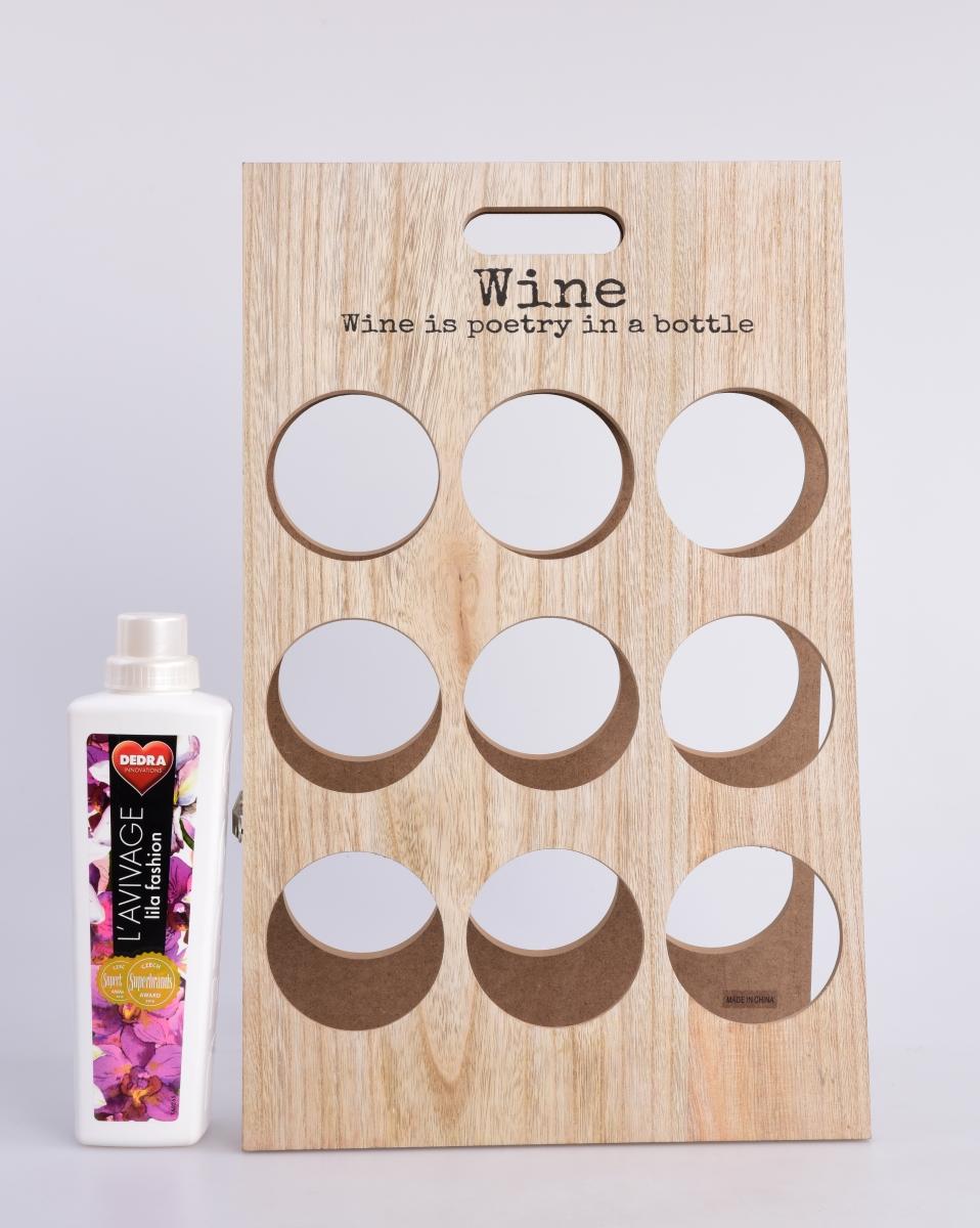 WINE držák na 9 lahví dřevěný a rozkládací, GoEco