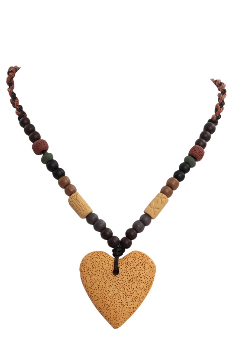 NATURAL náhrdelník, kari srdce