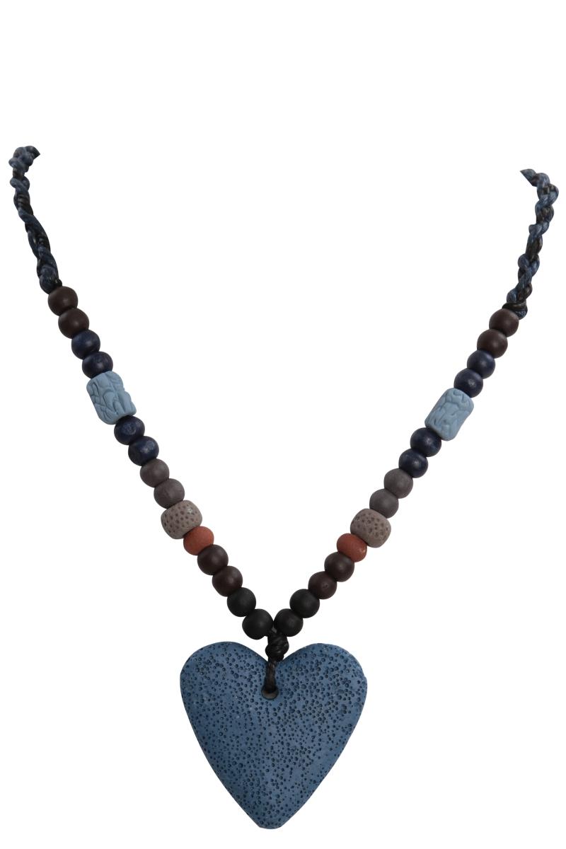 NATURAL náhrdelník, marine srdce