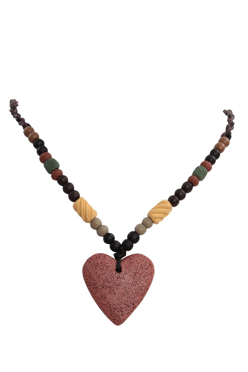 NATURAL náhrdelník  cihlové srdce