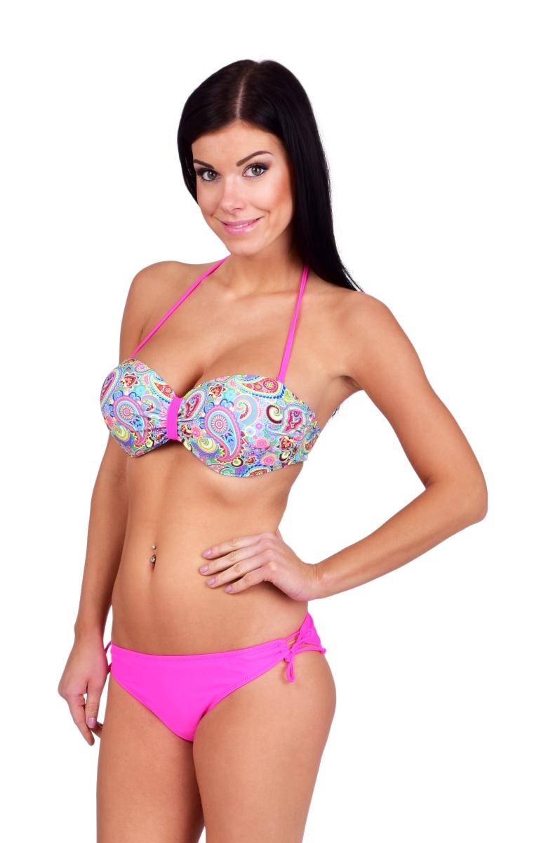JANIKA dvoudílné plavky růžové s ornamenty vel.1