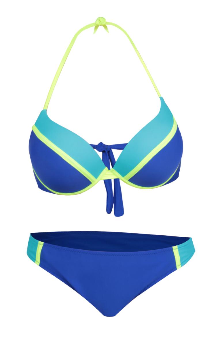 SUZIE dvoudílné plavky modré plavky s výraznou zelenou konturou vel.1