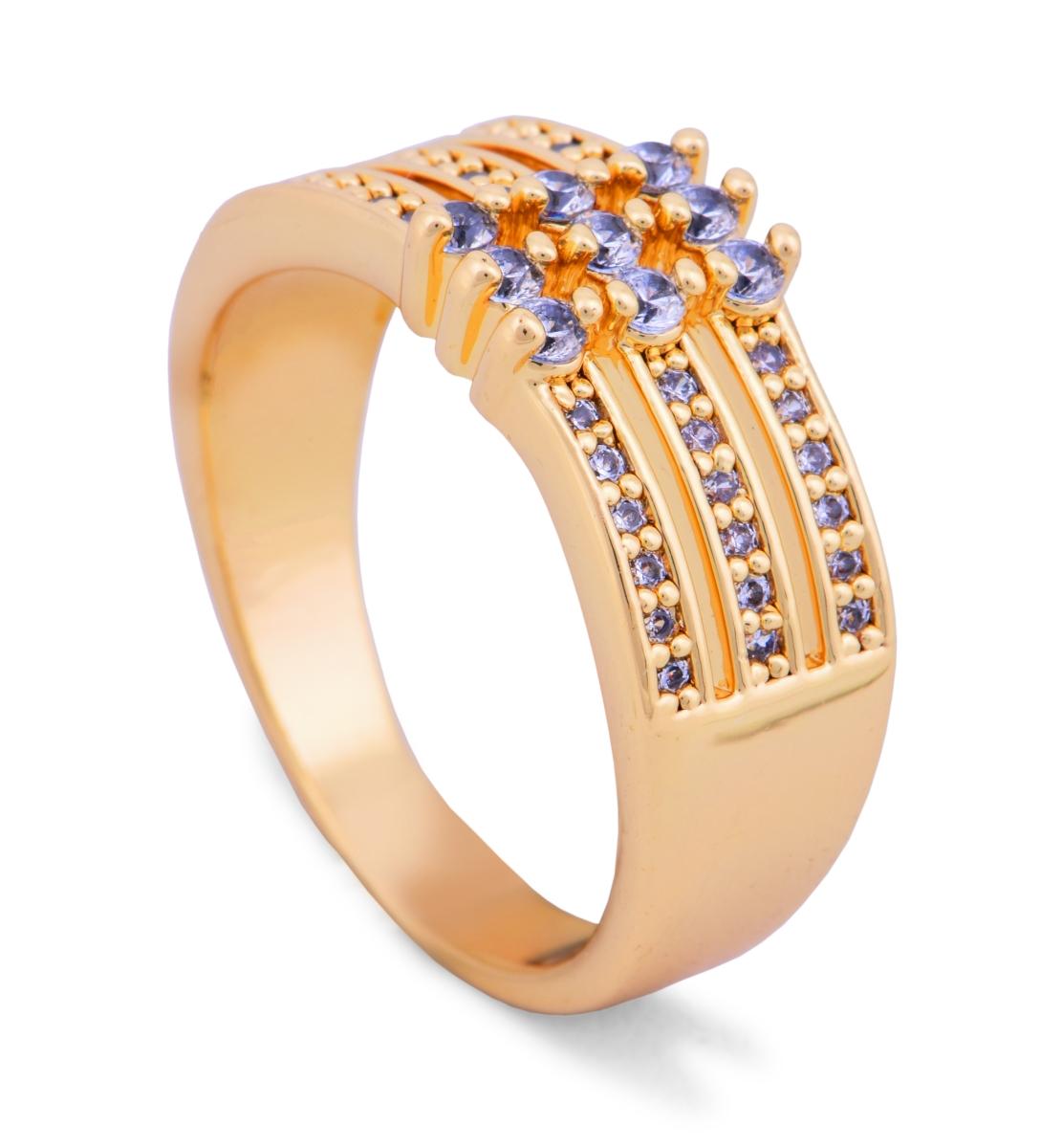 Prsten se zirkony pozlaceno 24 Kt.  1(vel.6)