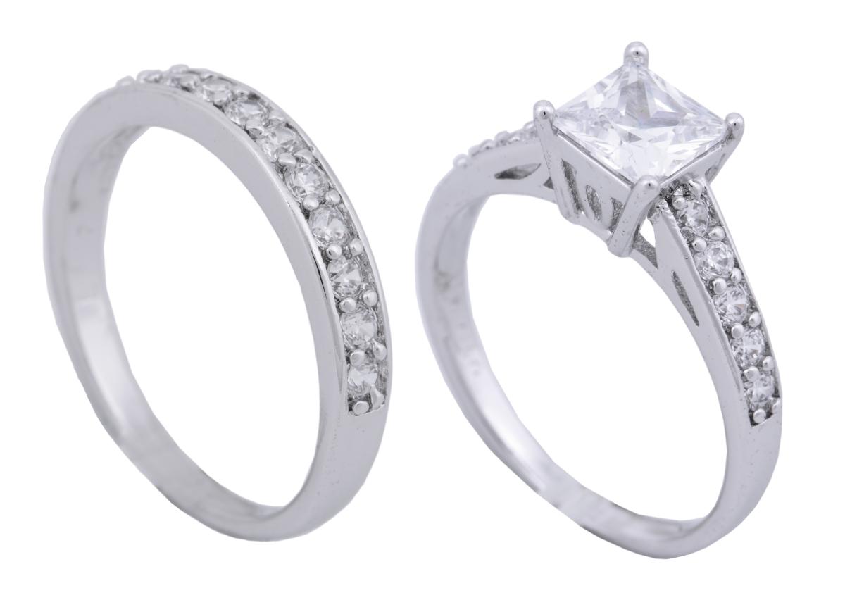 Prsten 2v1 se zirkony, rhodiováno