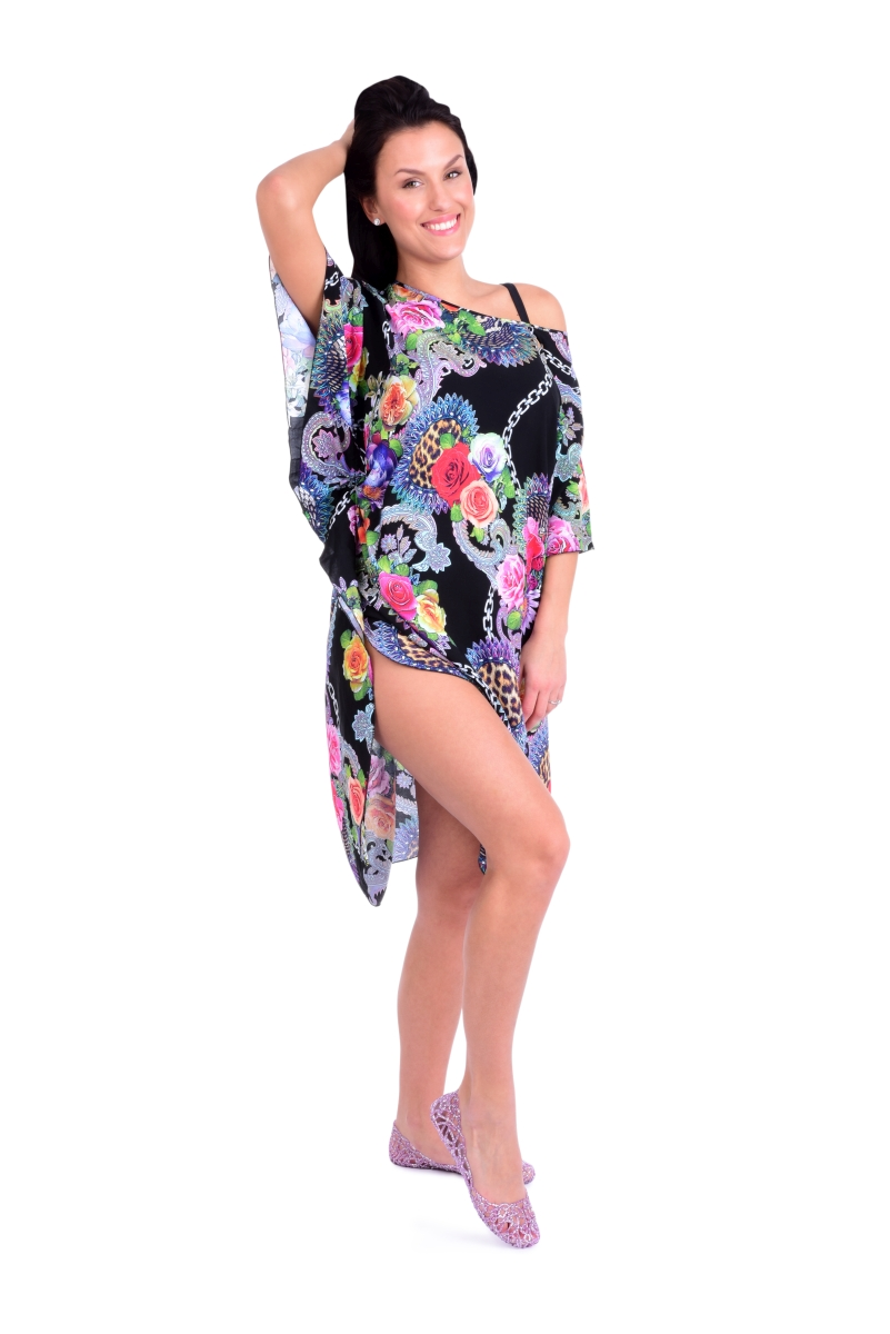 ADELE vzdušné šaty black multicolor
