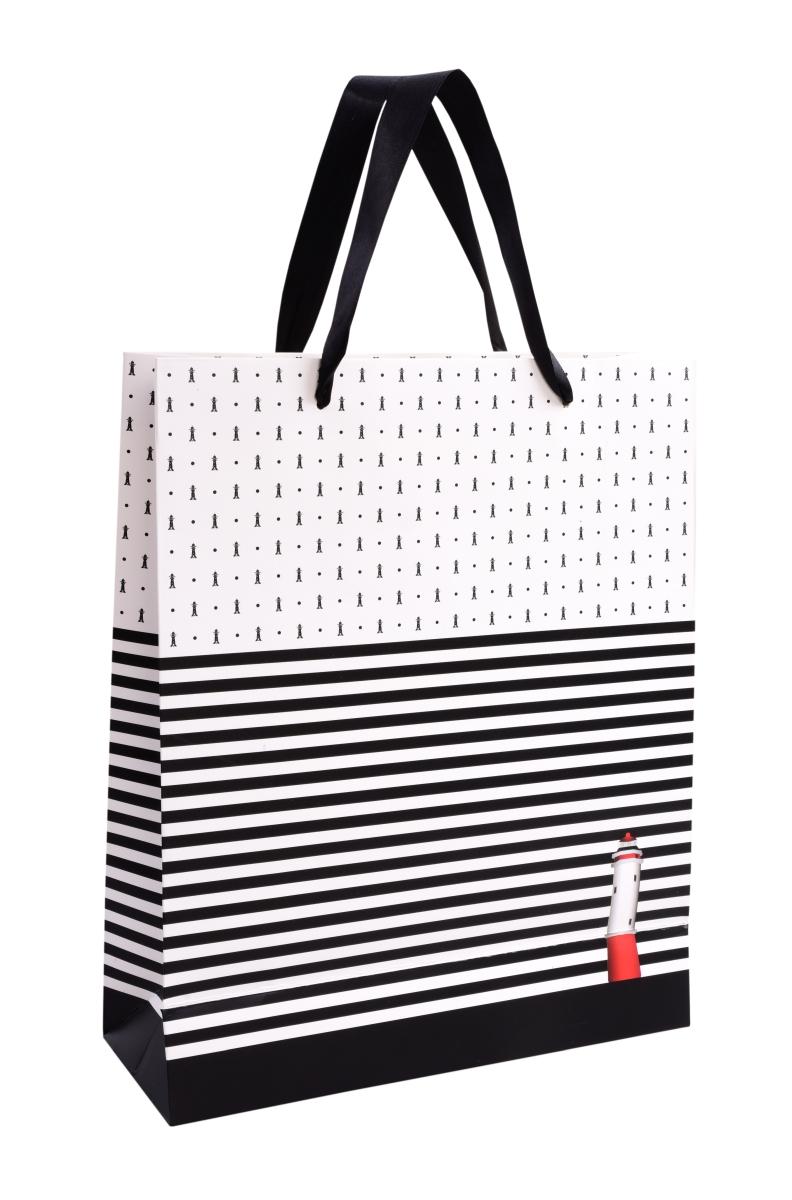 Dárková taška, černé pruhy/ maják
