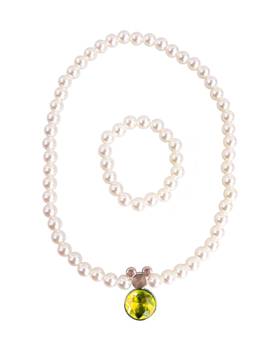 Korále a náramek v barvě perleti žlutý kámen