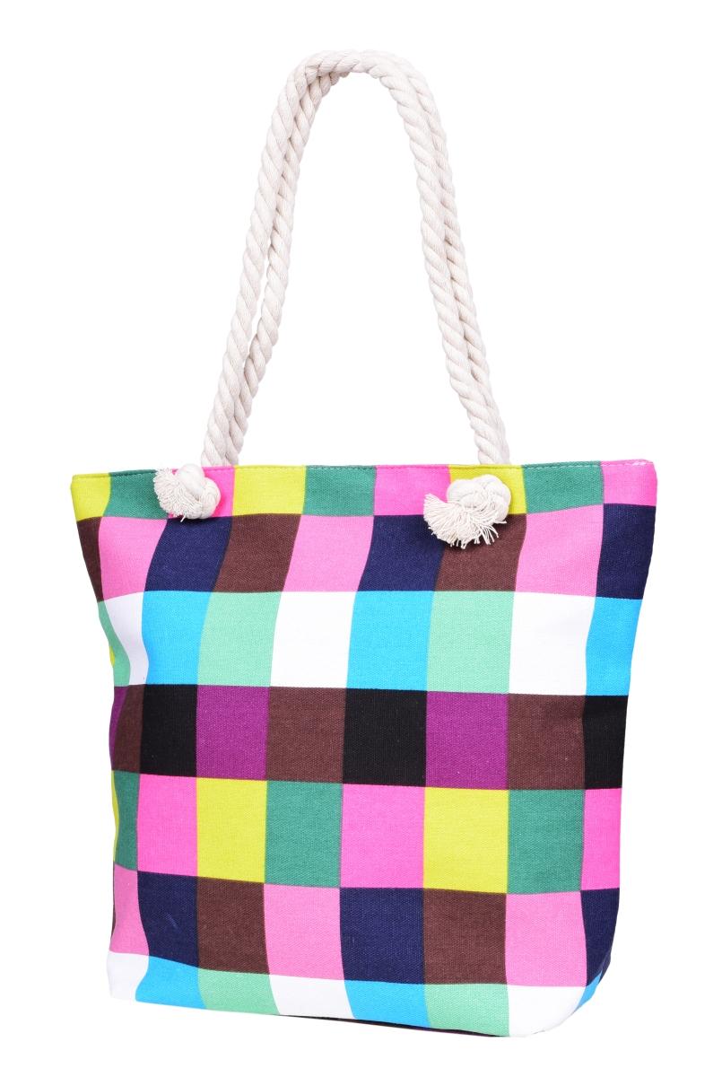 RONNI textilní kabelka barevná kostka