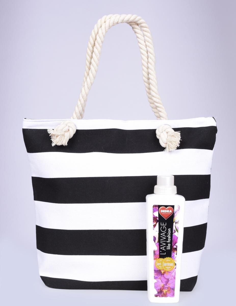 RONNI textilní kabelka, černé pruhy