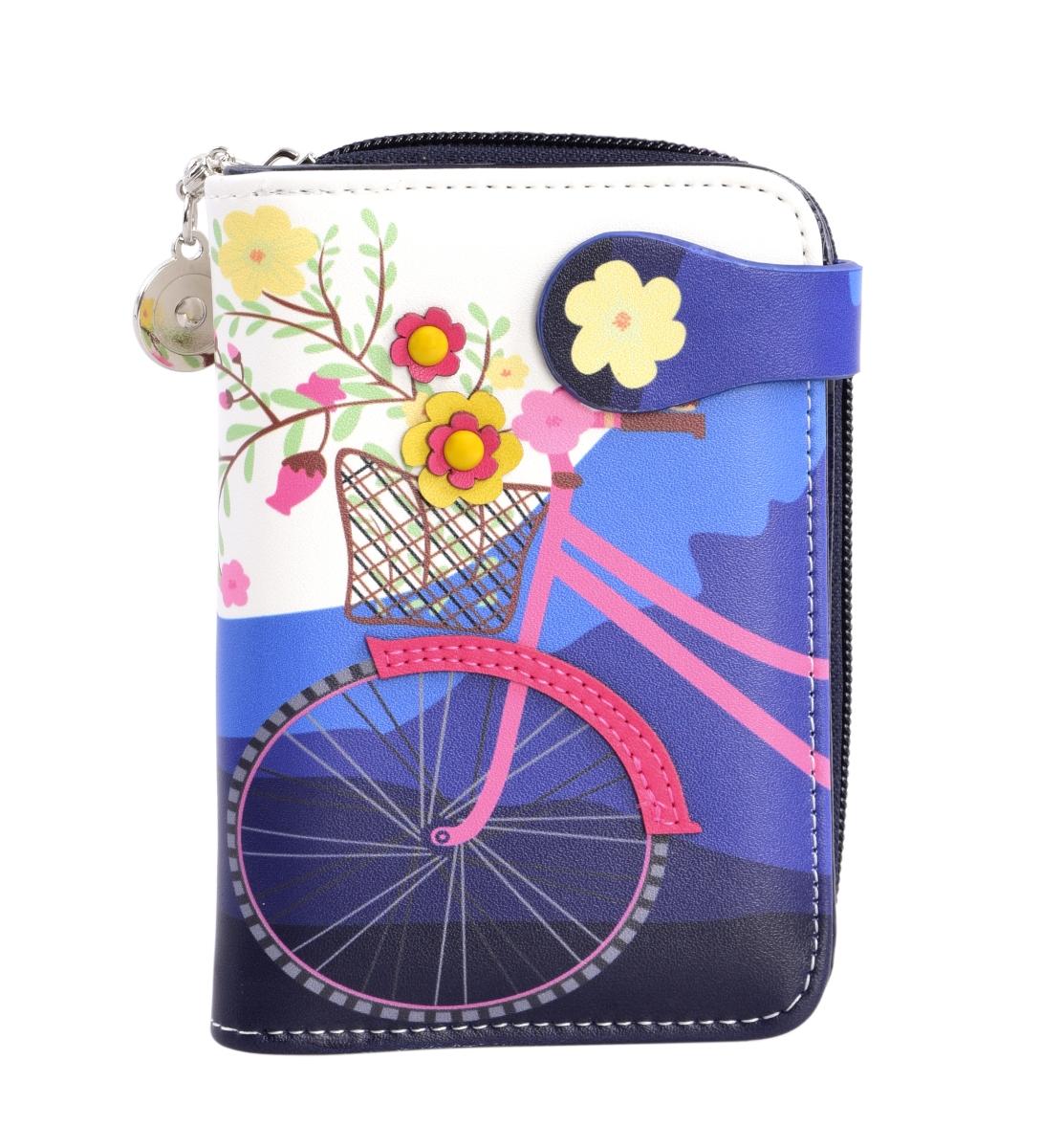 Dámská peněženka s aplikací kola modrá