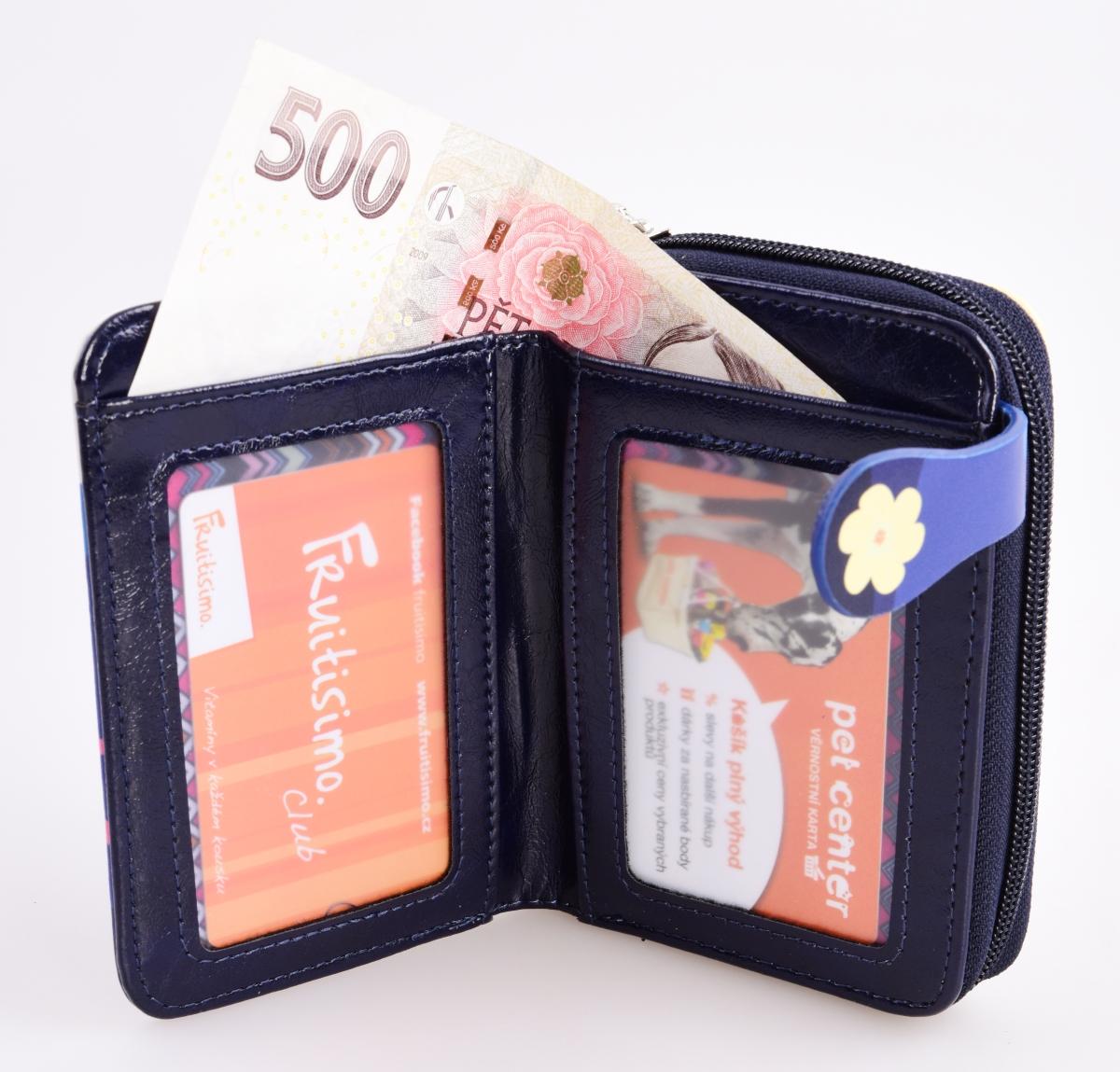 FC980111-Dámska peňaženka s aplikáciou kola modrá