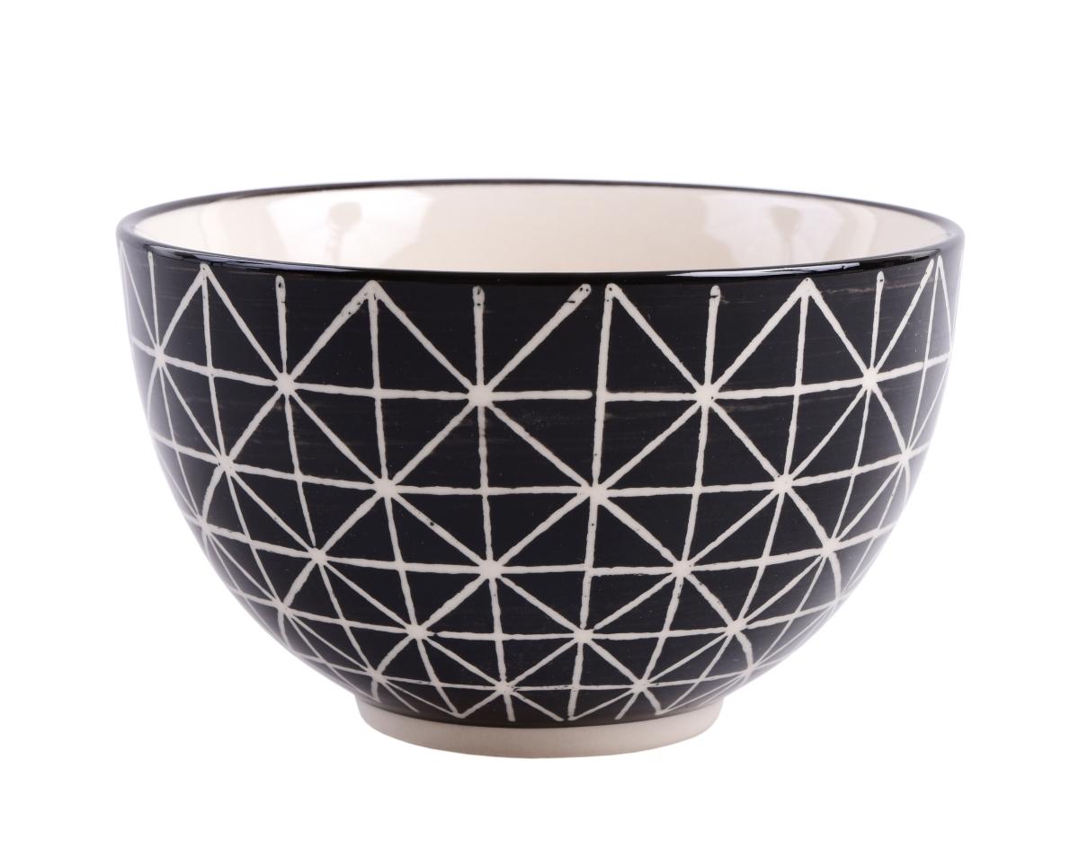 Keramická miska objem 400 ml černá s krémovou