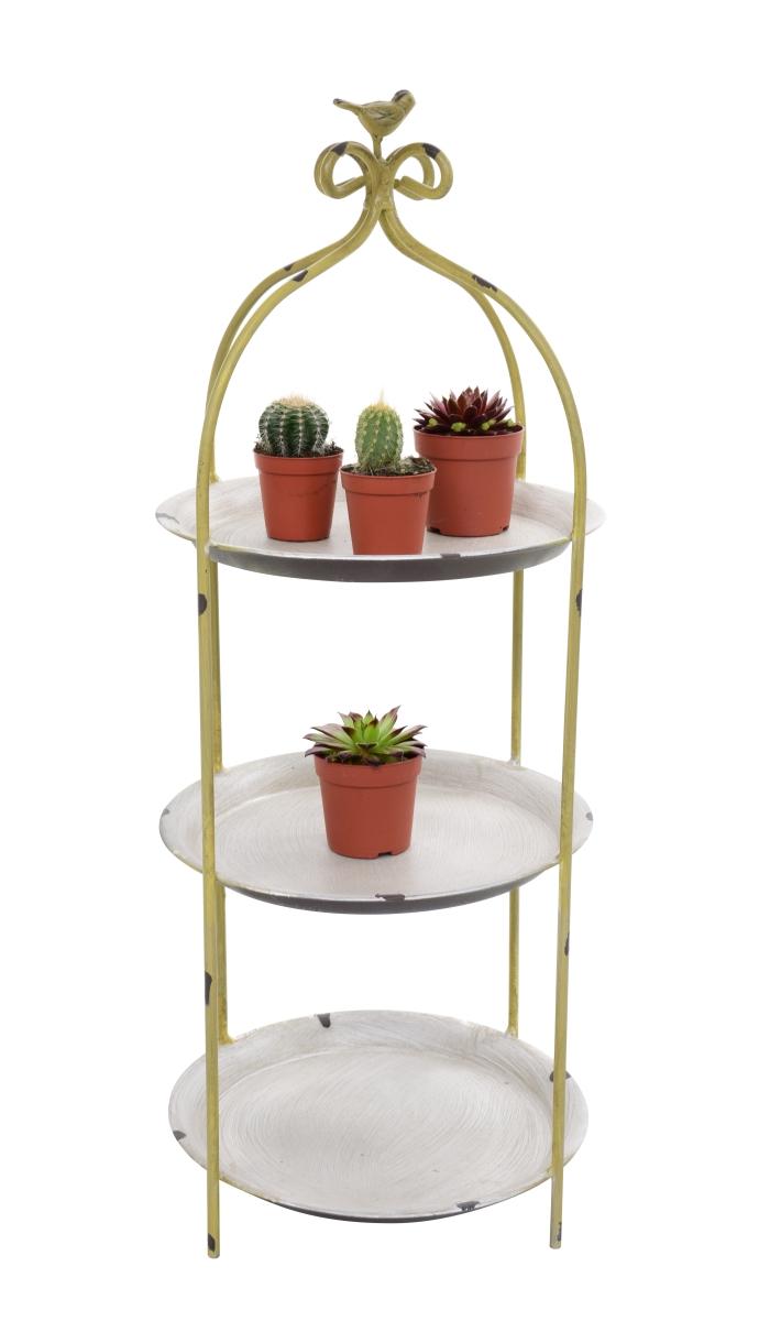 Kovový stojan/etažér na květiny, dekorace olivový