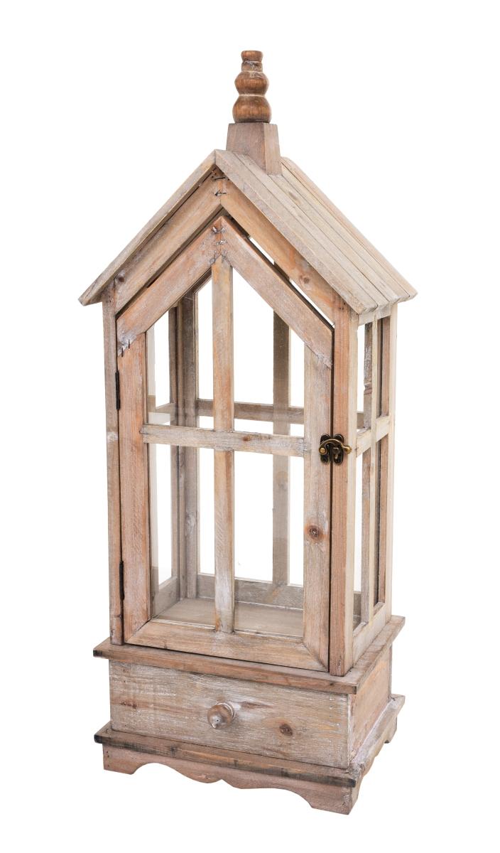 Dřevěná lucerna/skleník ve tvaru domku přírodní