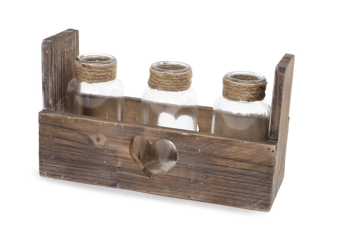 Dřevěný stojan se 3 sklenicemi