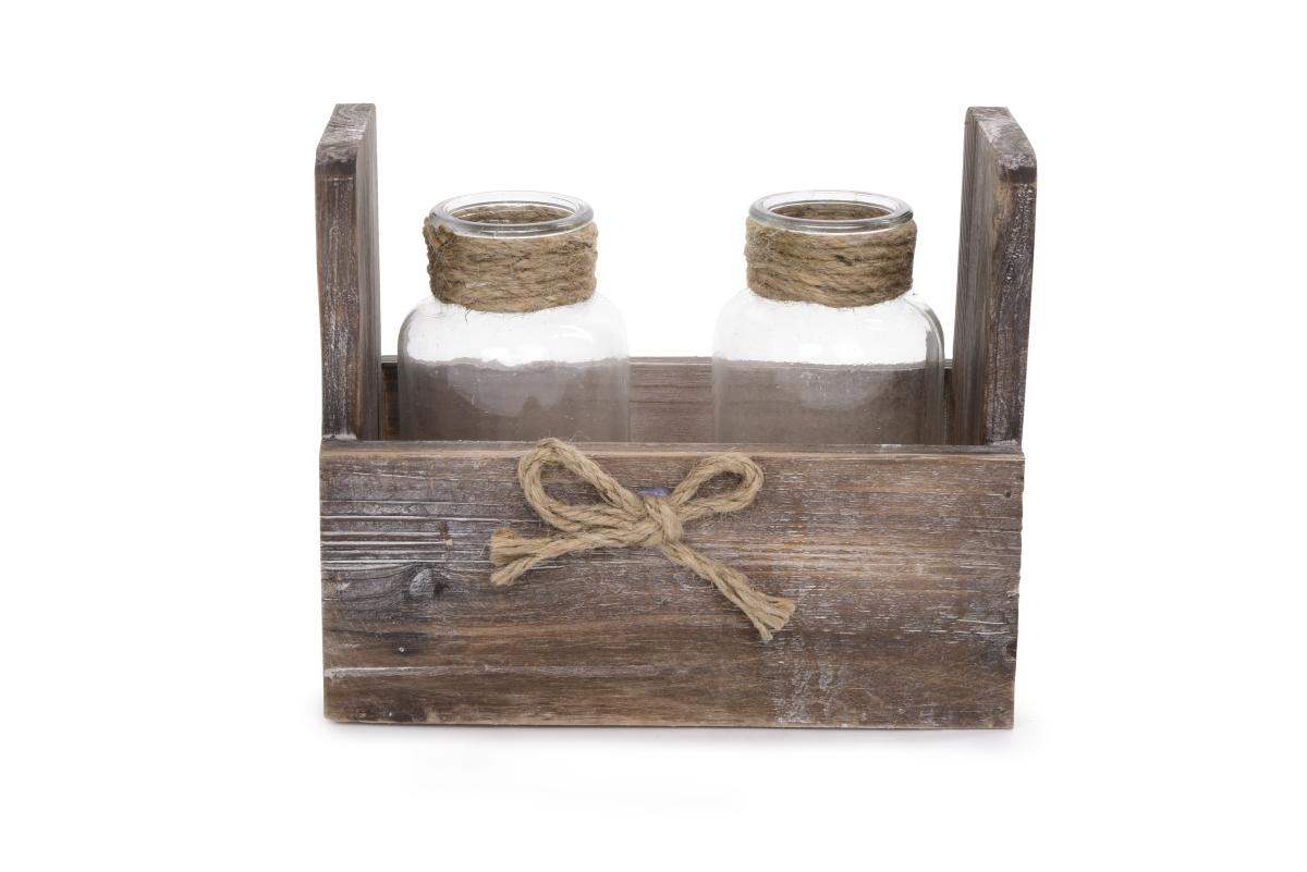 Dřevěný stojan s 2 sklenicemi