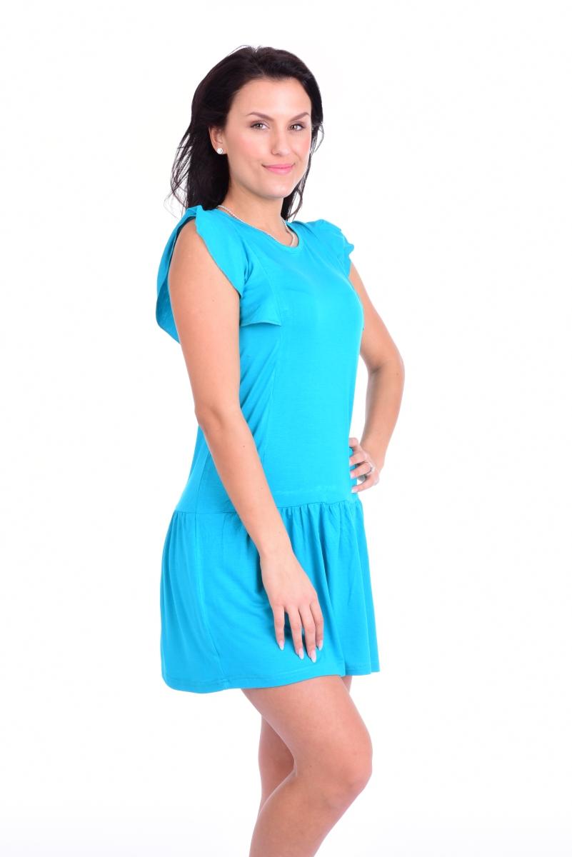FC11413-Tain krátke šaty / tunika tyrkysové