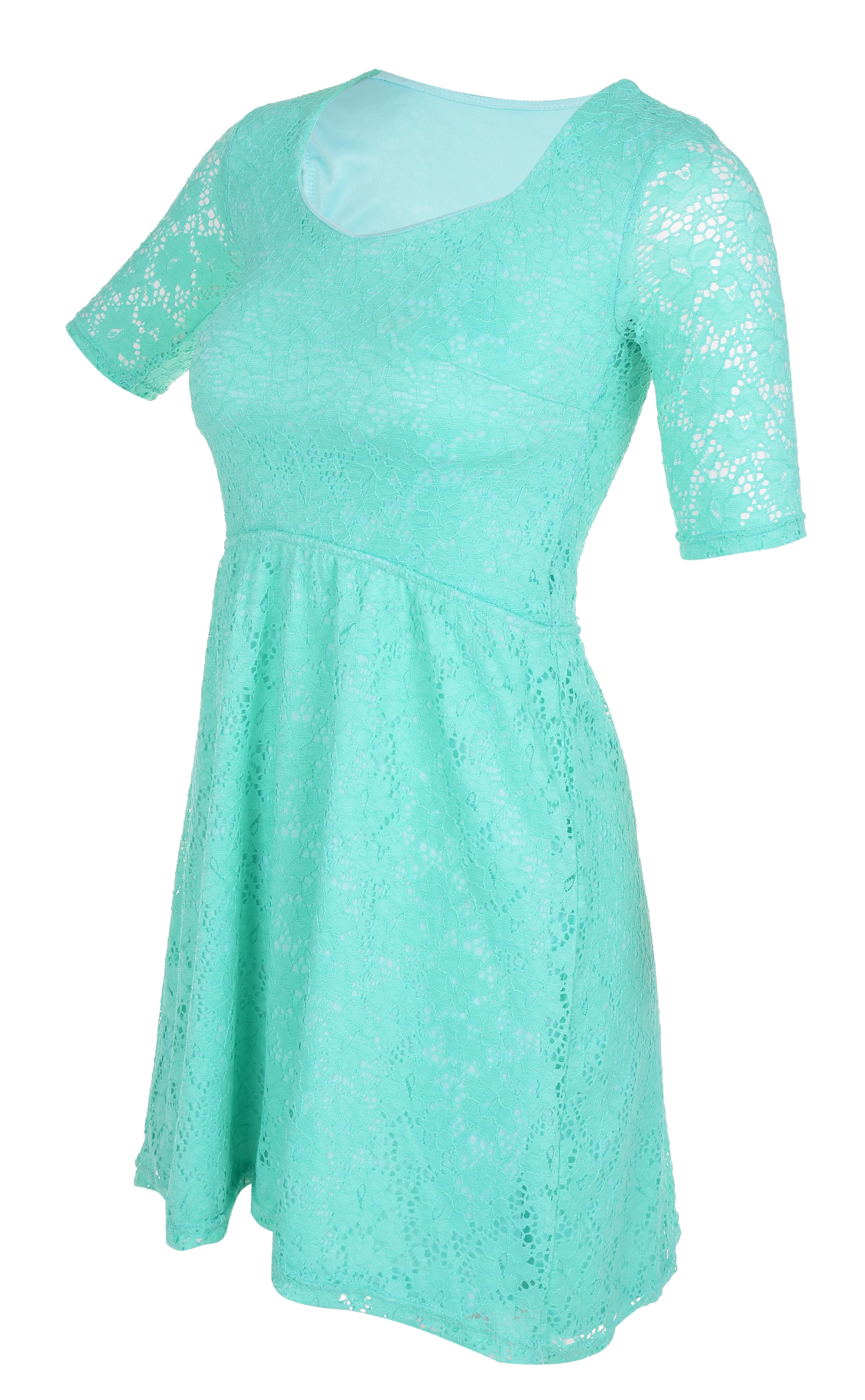 LACY krajkové šaty s podšívkou mint/tyrkysové