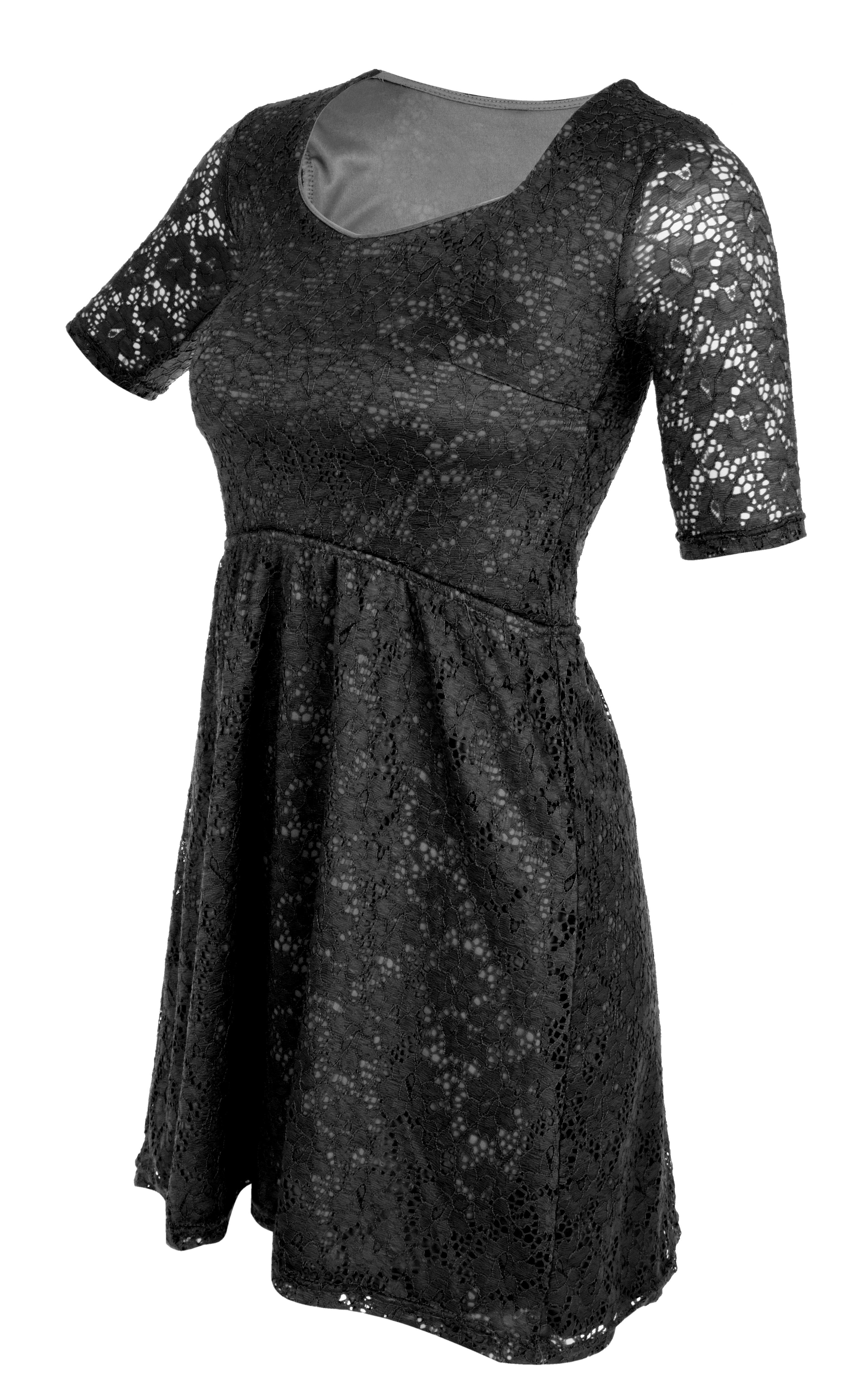 LACY krajkové šaty s podšívkou černé
