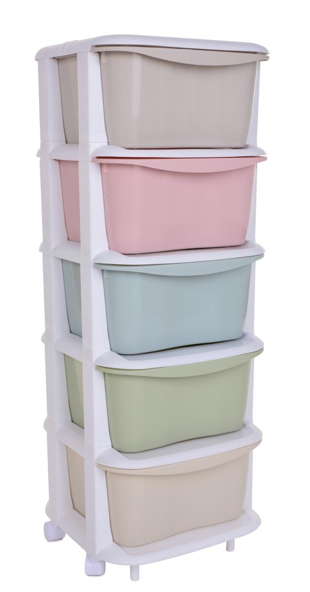 QUINTO REGAL, s 5 výsuvnými různobarevnými boxy