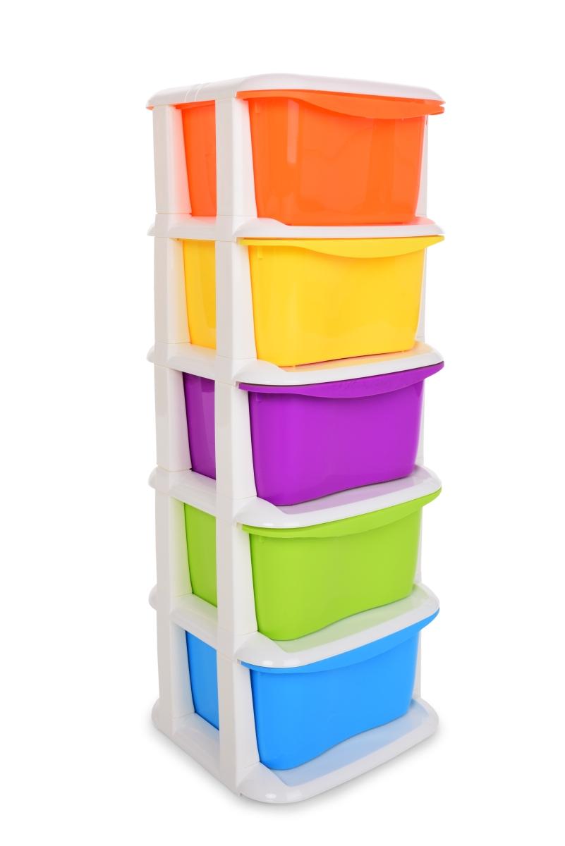 QUINTO REGAL mini s 5 výsuvnými různobarevnými boxy s 5 výsuvnými různobarevnými boxy