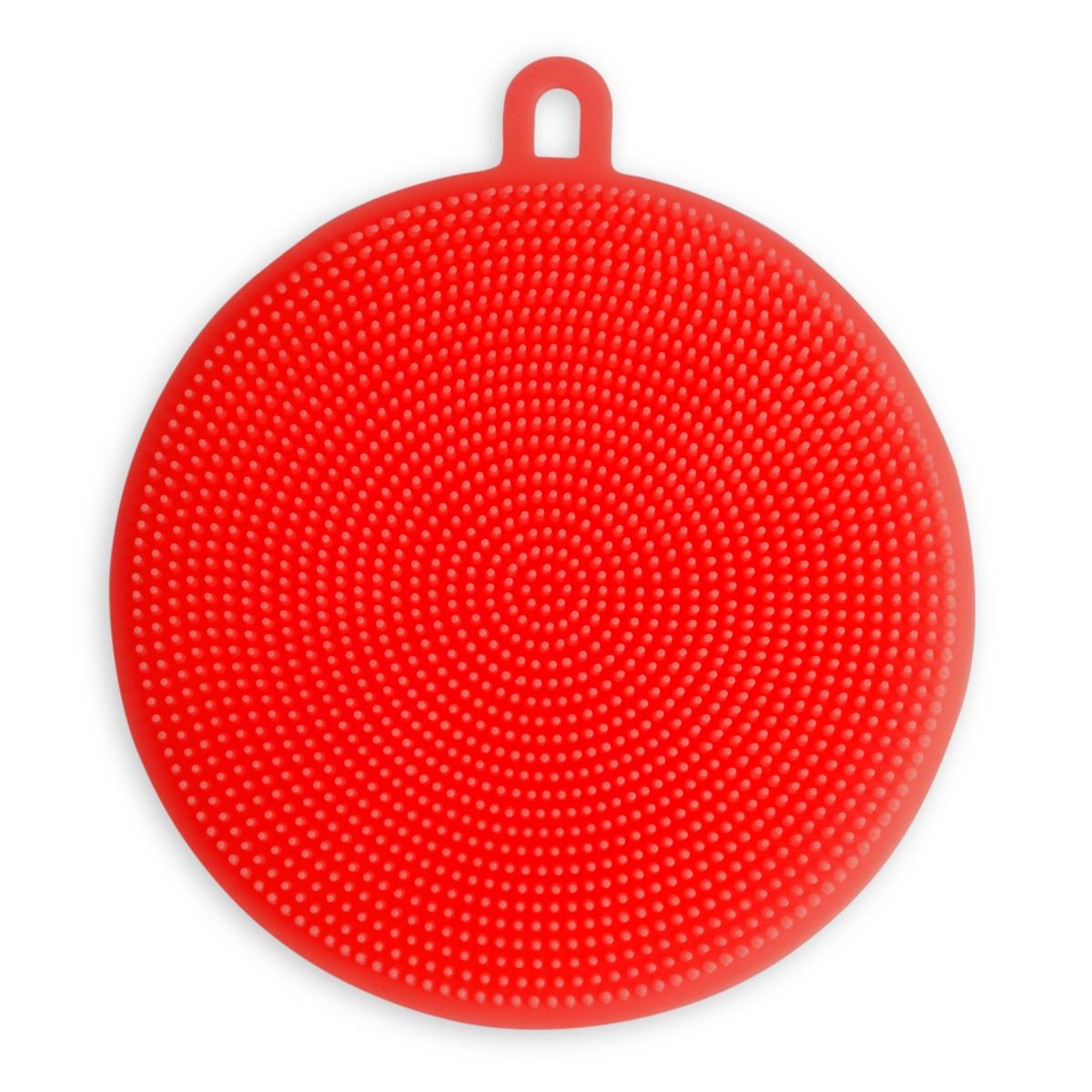 SILISASANKA na mytí silikonová houbička oboustranná, červená
