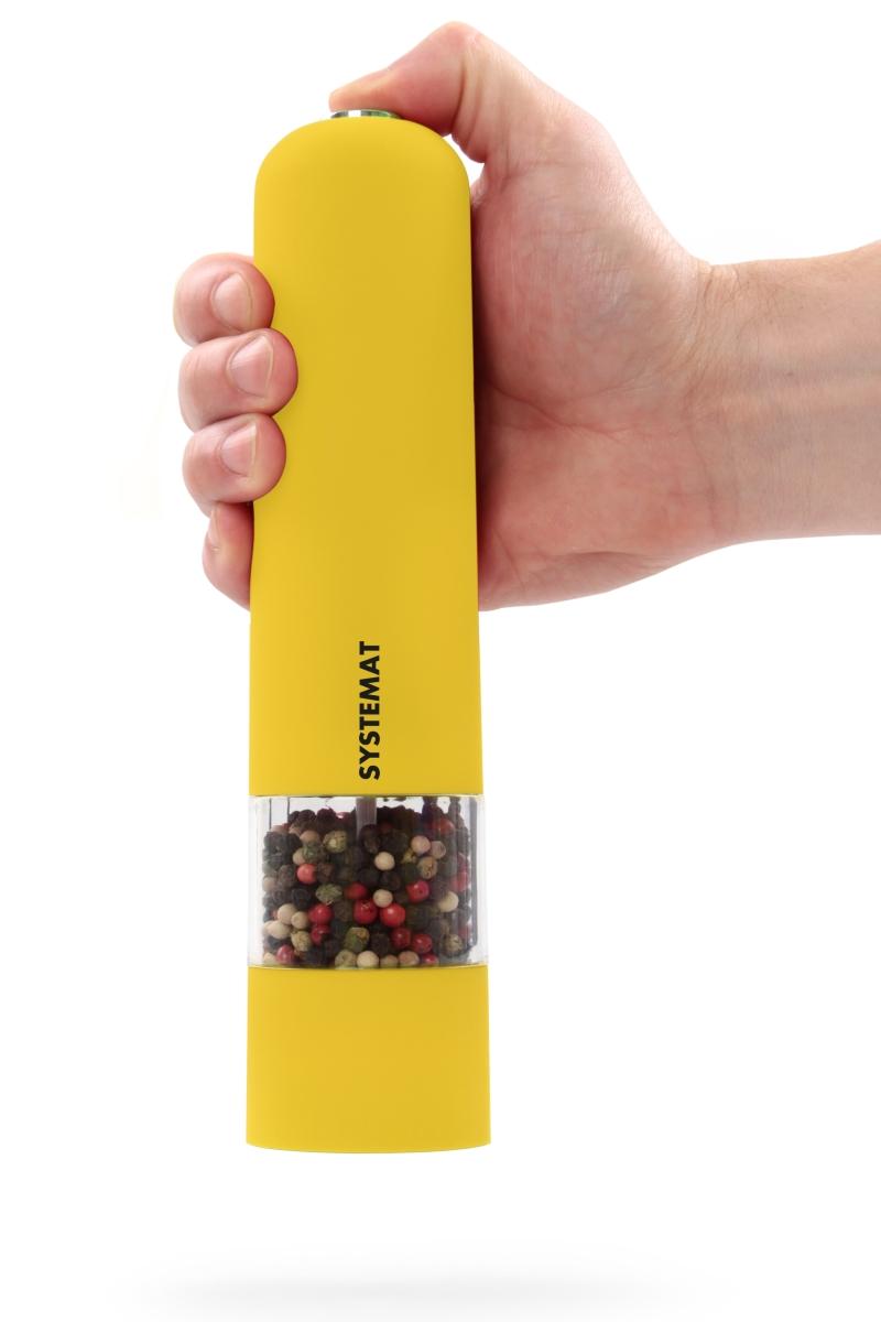 XXL el. mlýnek s LED osvětlením žlutý, v.: 22 cm