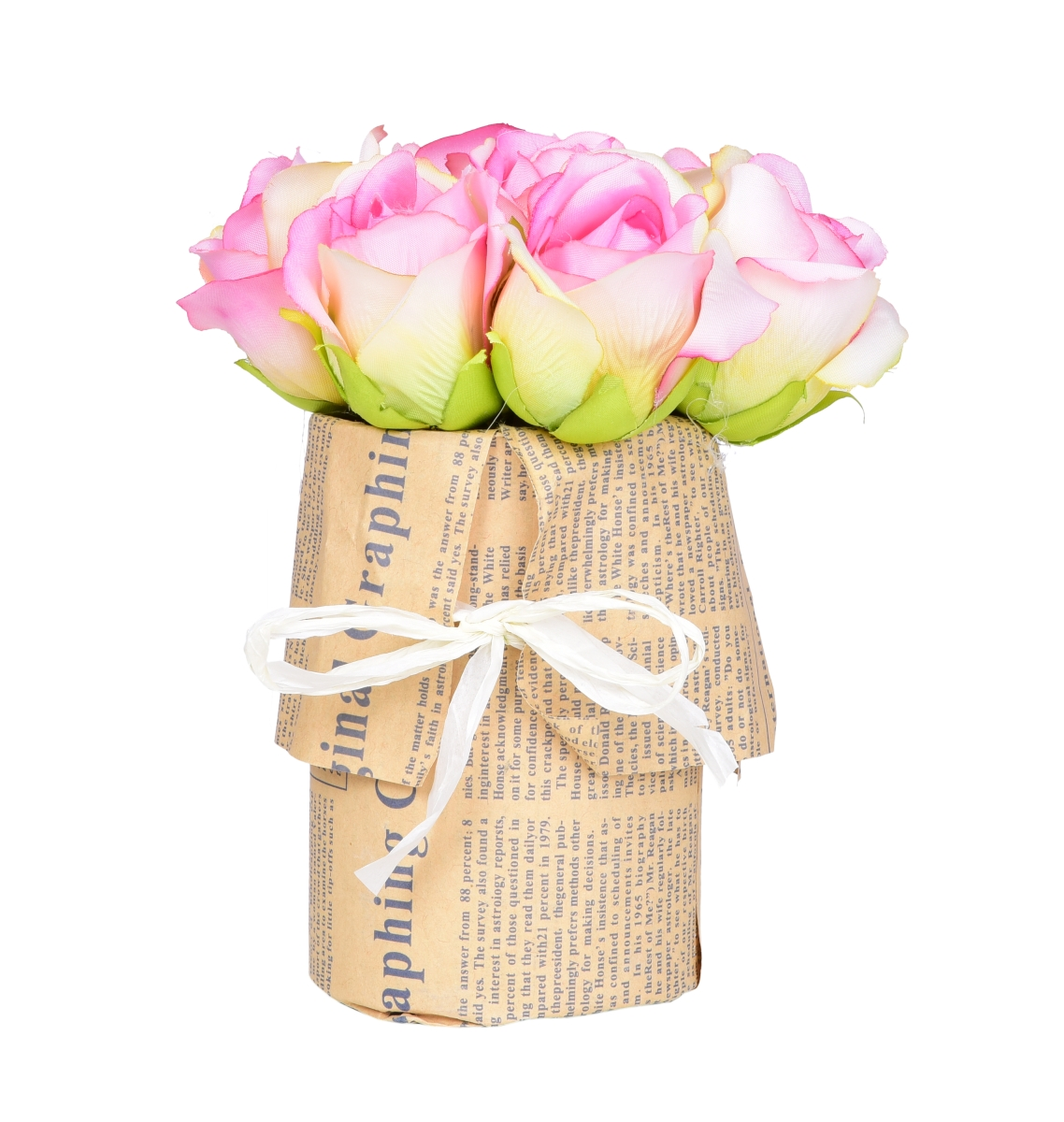 Kytice RŮŽÍ růžová v květináči   ateliérová květina