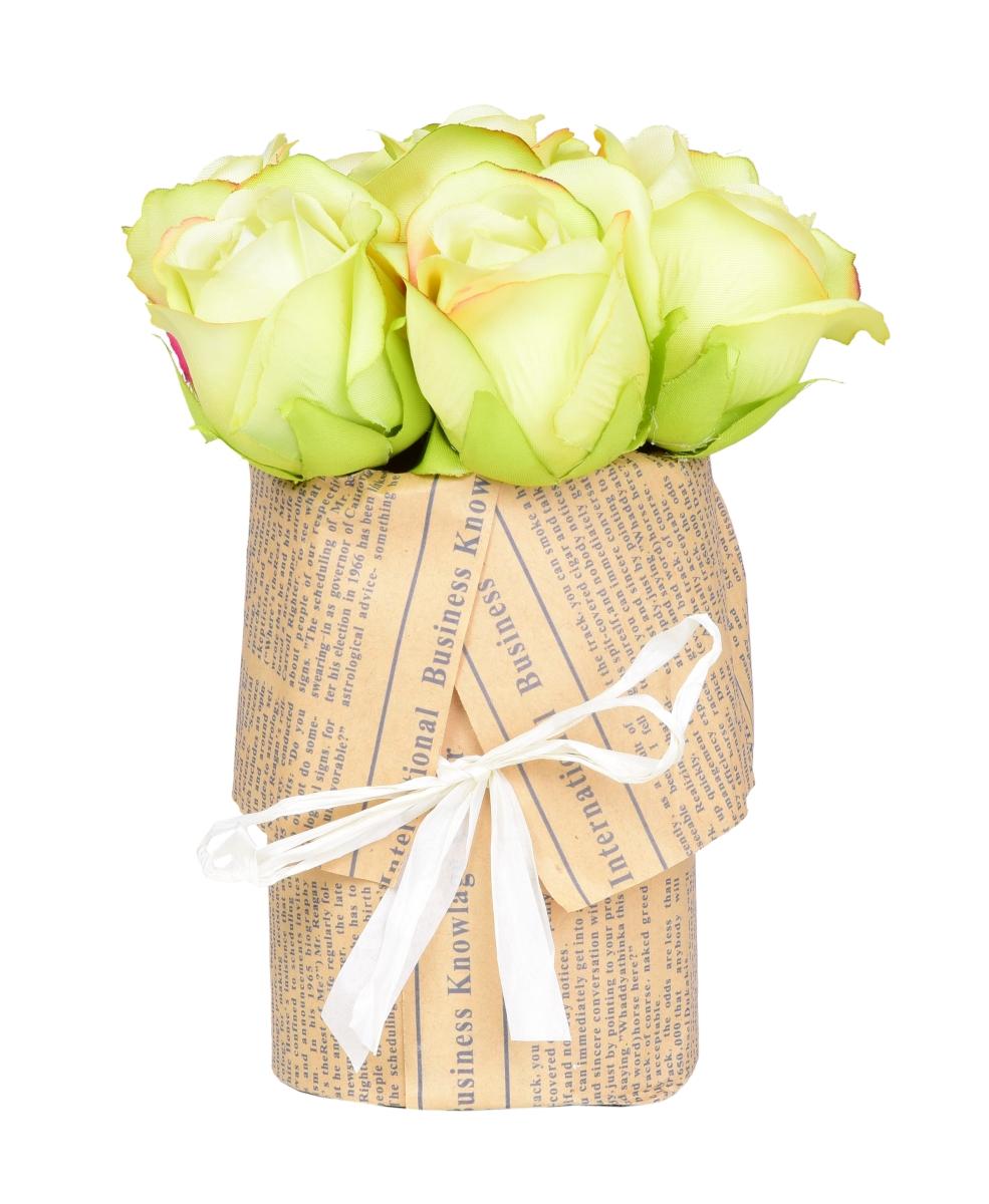 Kytice RŮŽÍ zelená v květináči   ateliérová květina