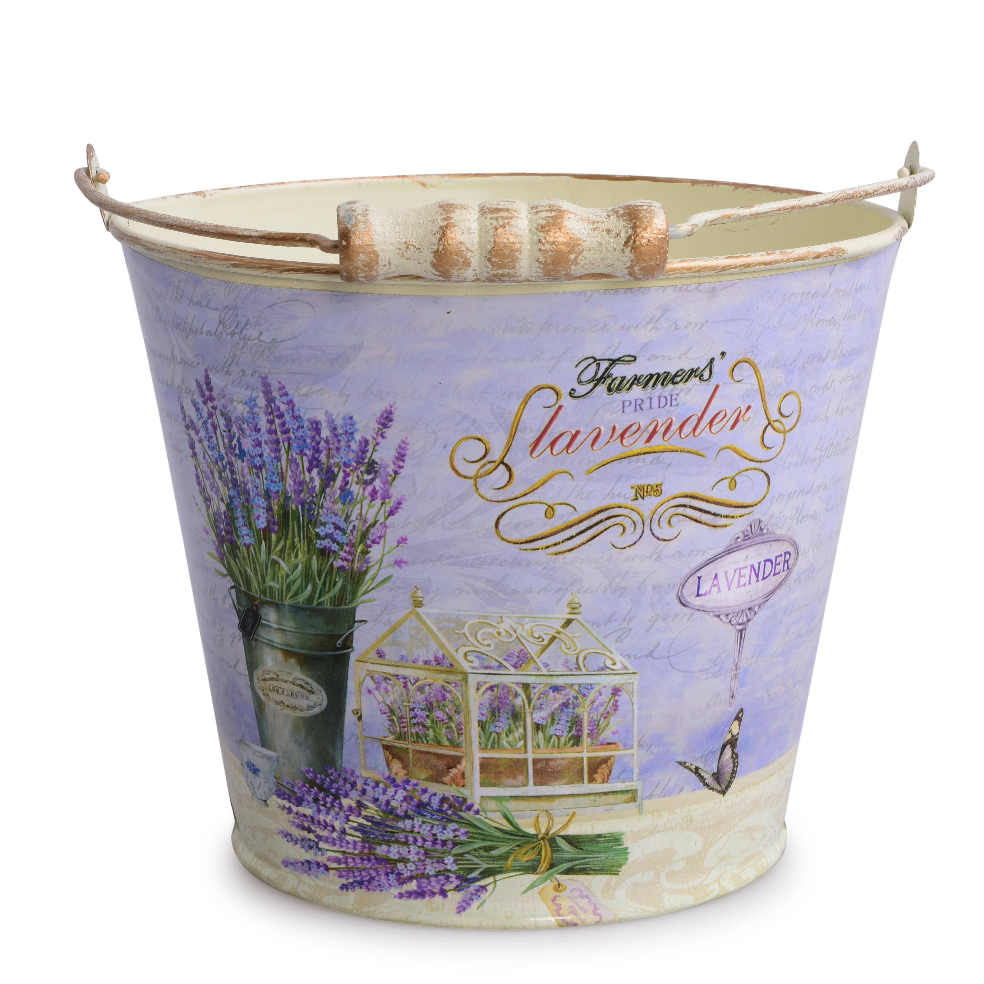 Kovový dekorativní obal na květináč  LAVENDER velký