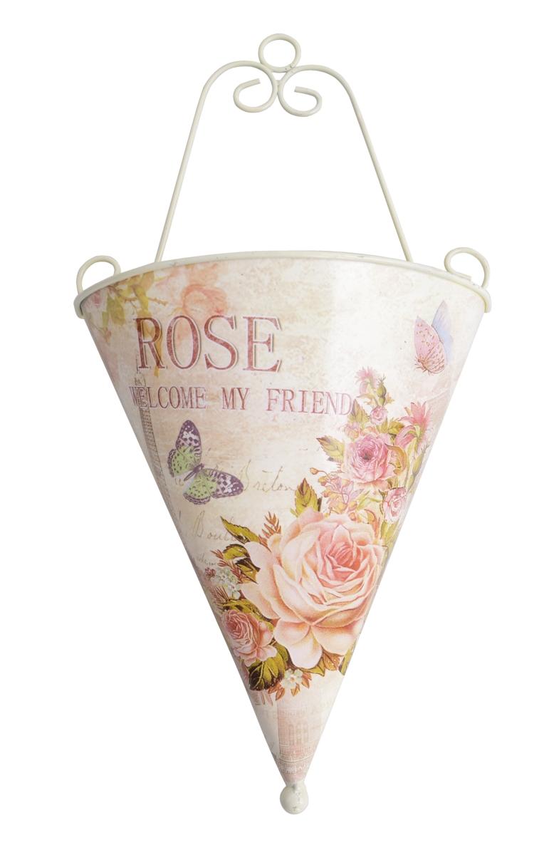 Závěsný kovový obal, na květináč ROSE