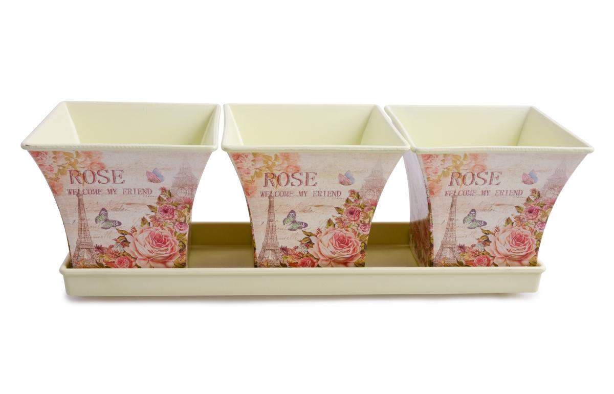 3ks obal na květináč na podnosu ROSE čtvercové
