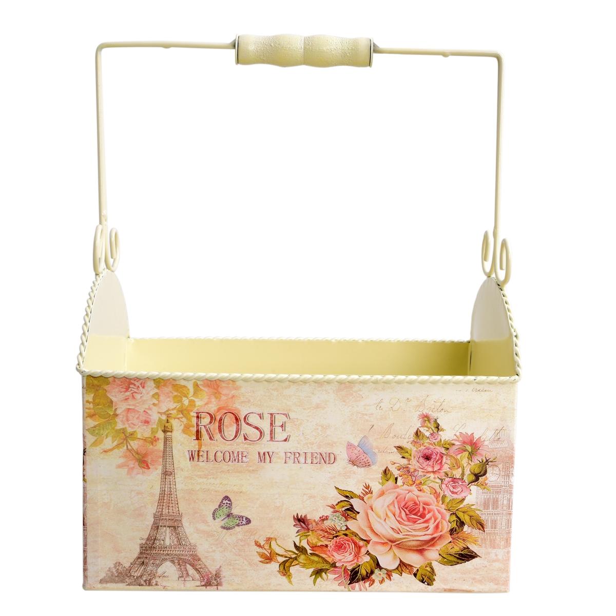 Dekorativní kovový box ROSE s madlem na přenášení