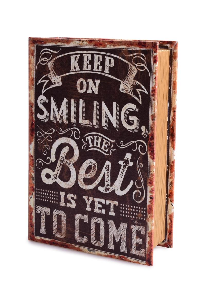 Dekorativní kniha/kazeta, SMILING,dřevěná