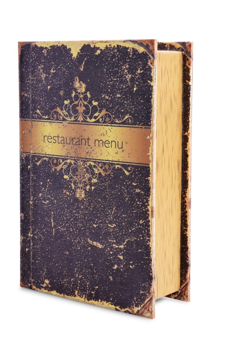 Dekorativní kniha/kazeta, RESTAURANT MENU,dřevěná