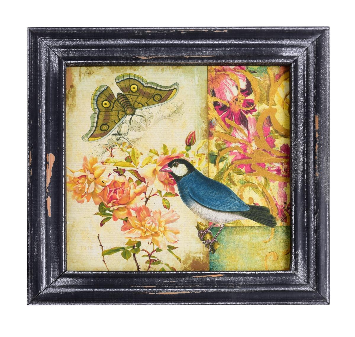 Dřevěný obraz  s dobovou patinou modrý ptáček