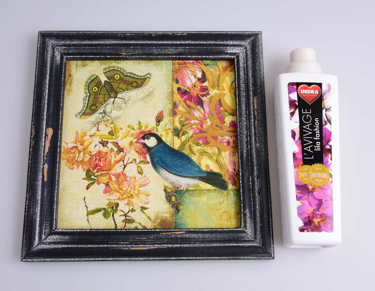 DA99161-Drevený obraz s dobovou patinou modrý vtáčik