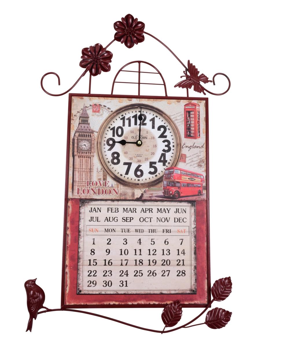 Nástěnné dekorativní hodiny s kalendářem, kovové London