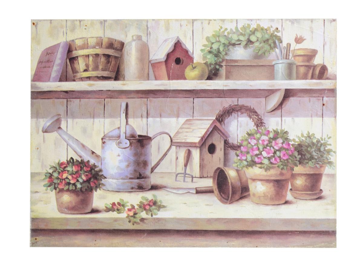 Dřevěný obraz s motivem zahradních dekorací přírodní tóny