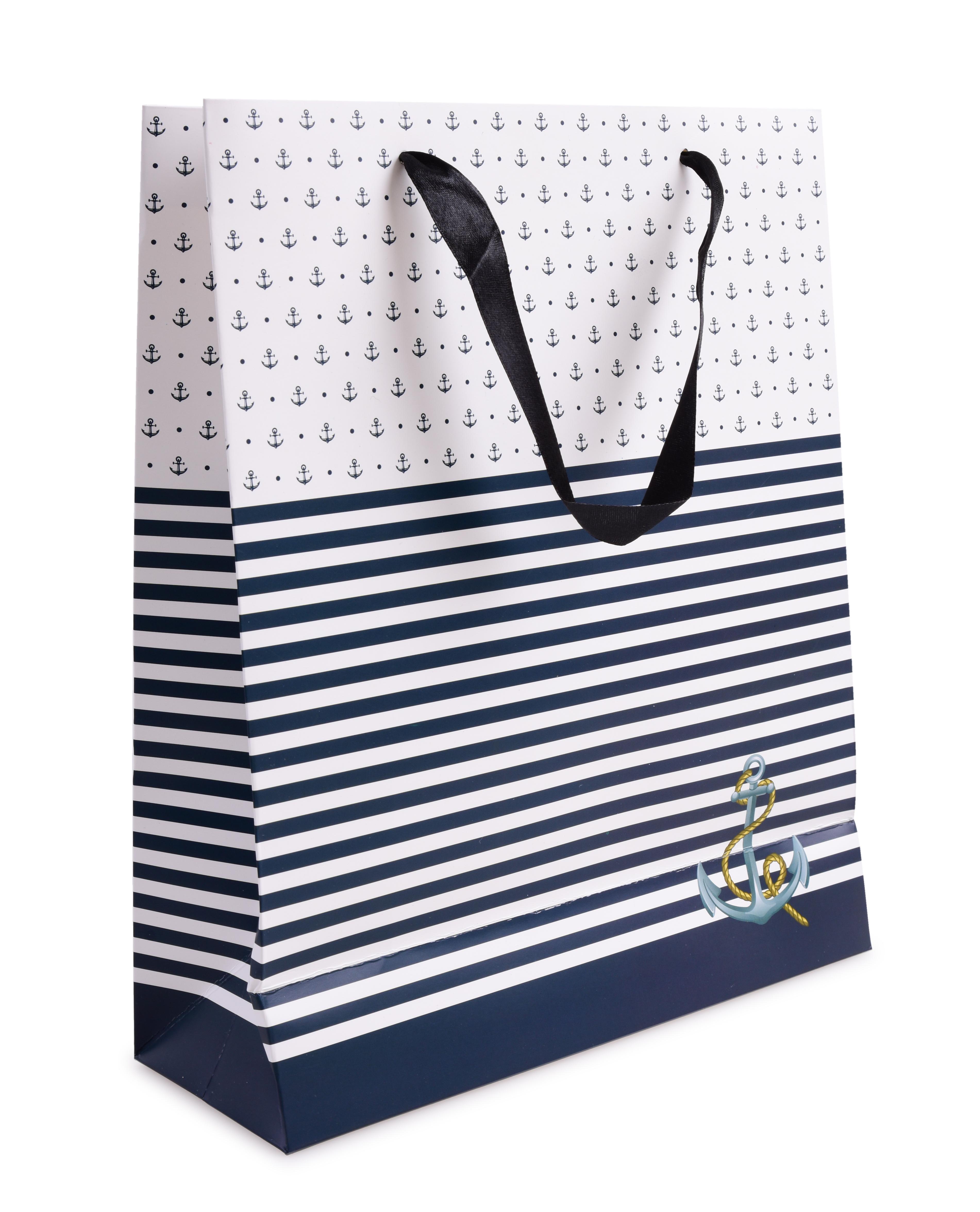 Dárková taška modré pruhy