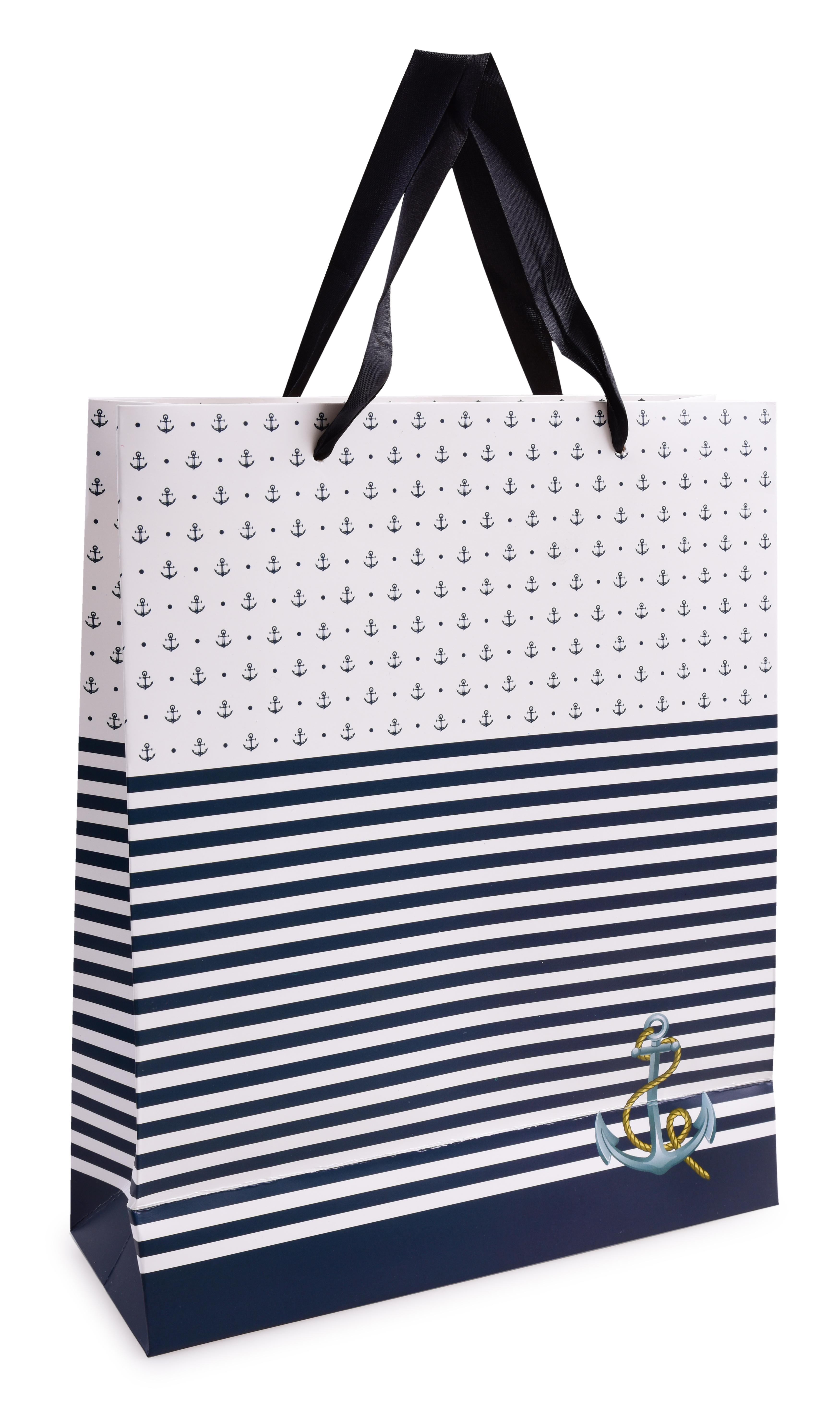 Dárková taška, modré pruhy