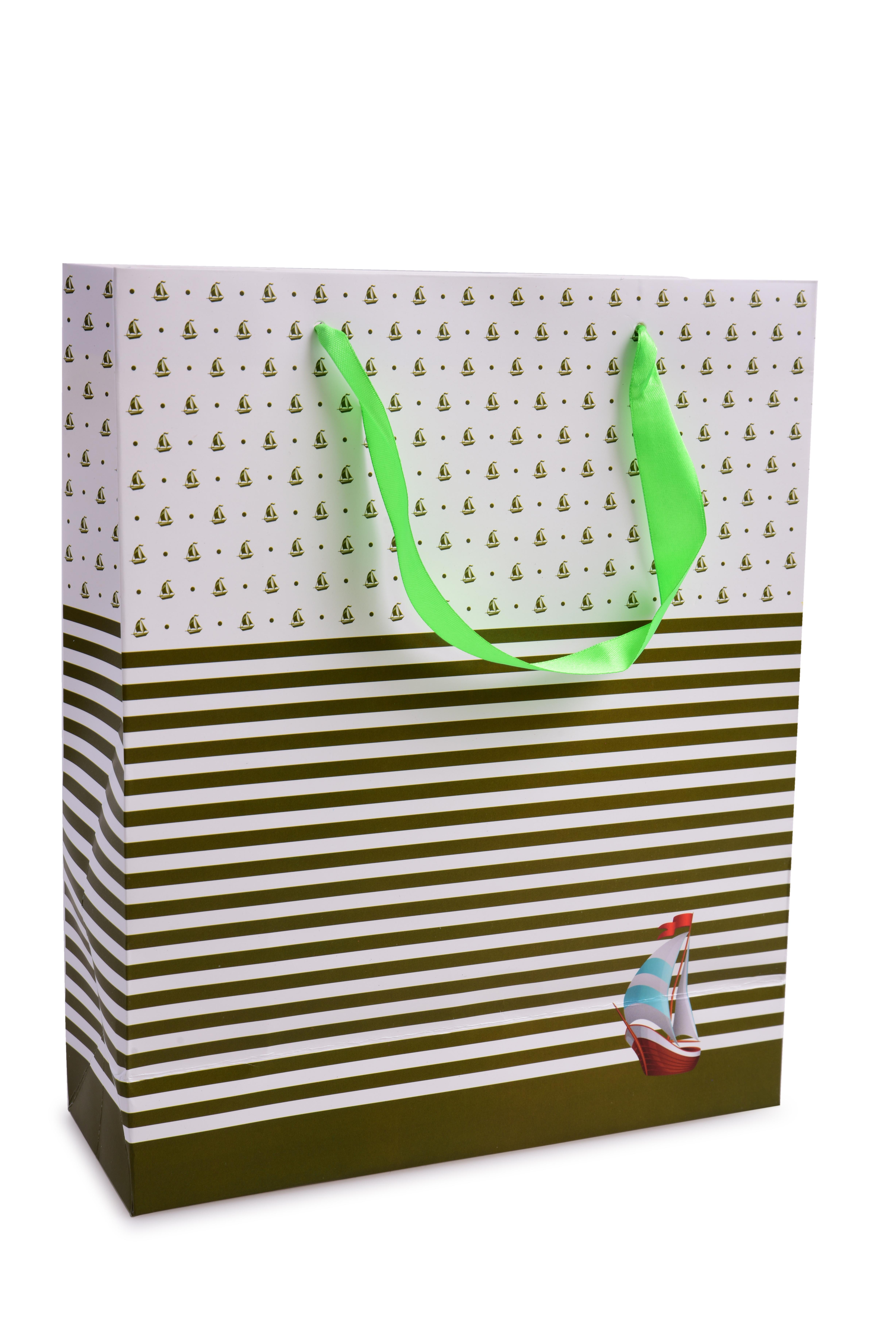 Dárková taška olivové pruhy/loďka