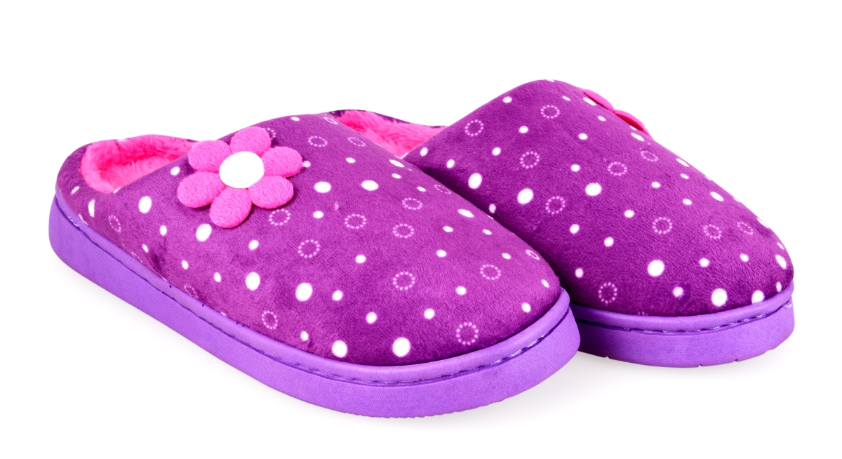 Hřejivé pantofle KIKISTAR®  domácí,  ve fialovo růžové vel.1(36-37)